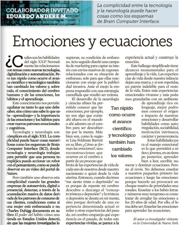 Emociones y ecuaciones Marzo 9 19